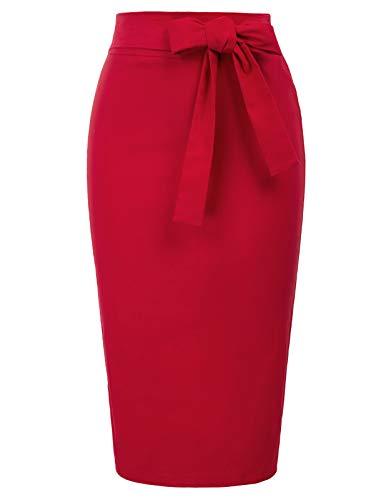 Rot röcke Damen Etuirock Frauen röcke Bleistiftrock mit Schlitz Festliche röcke BP016-2 S