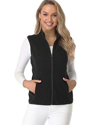 fuinloth Women's Fleece Vest, Polar Soft Sleeveless Classic Fit with Zip up Pockets Black Large