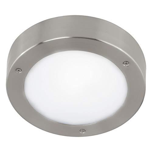 EGLO LED Außen-Deckenlampe Vento 2, 1 flammige Außenleuchte für Wand und Decke, Deckenleuchte aus Edelstahl und Glas, Farbe: Silber, weiß, IP44