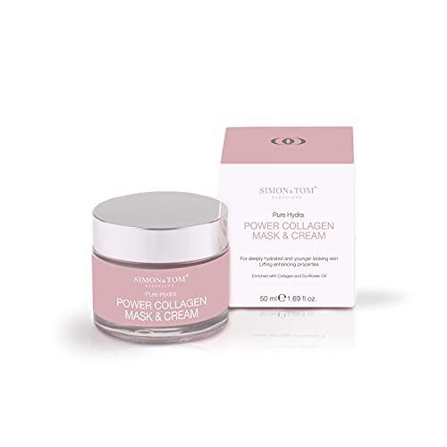Crema Facial de Colágeno Marino Ultra concentrada con antioxidantes- Simon & Tom – Combate Arrugas, Tonifica e Hidrata - Efecto Lifting – HECHO EN ESPAÑA.
