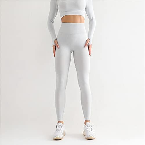 ZLXW Pantalones De Yoga De Punto Sin Costuras para Mujer, Pantalones Deportivos De Fitness, Pantalones Legging con Levantamiento De Cadera, Leggings De Cintura Alta (M,Blanco)