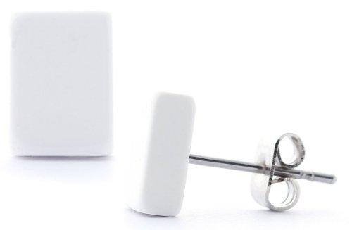 DonDon - Pendientes cuadrados unisex (1 cm de largo, 0,8 cm de ancho, con cierre de acero inoxidable), color blanco