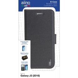 Aiino - Custodia a libro con tasche booklet B-Case per telefono cellulare smartphone Samsung Galaxy J3 (2016) - Black
