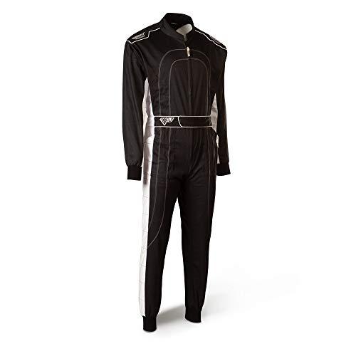 Speed Kartoverall - schwarz/weiß - Kart Hobby Overall - Karting Suit - Rennoverall (XL)