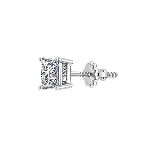 Mens Stud Earrings Princess Cut Diamond earrings for women-teens replacement single (not a pair) 0.13 ctw 14K White Gold