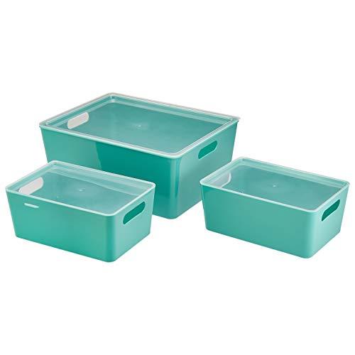 Amazon Basics – Kunststoff-Aufbewahrungsbehälter für die Küche, 3er-Set