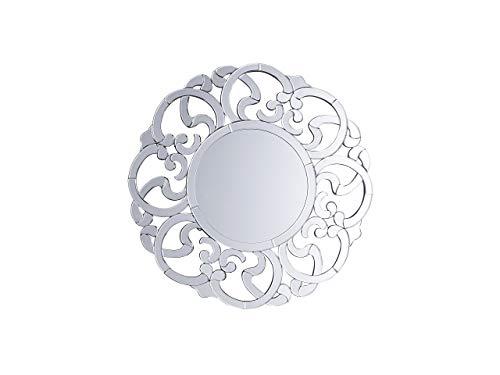 Beliani Wandspiegel im Glamour Stil rund Dia. 70 cm Silber Mornaix