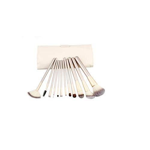 8HAOWENJU Set de pinceaux de Maquillage Champagne Brush Handle Outils de Maquillage, Pinceau à Fibres 12 Champagne (Couleur : Blanc)