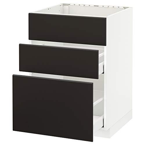 METOD/Maxim bashytt för handfat + 3 fronter/2 lådor 60 x 61,6 x 88 cm vit/Kungsbacka antracit