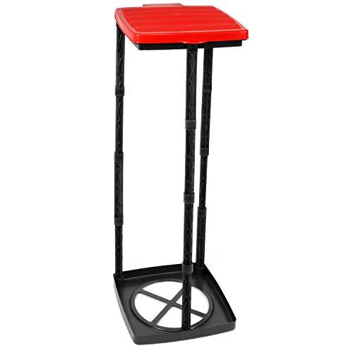 com-four® Porte-Sac à ordures avec Couvercle, 3 hauteurs différentes, montable, Rouge
