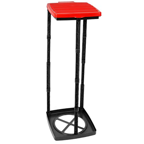 com-four Soporte para Bolsas de Basura con Tapa, 3 Alturas Diferentes, montable, Rojo (Cubierta - Rojo)