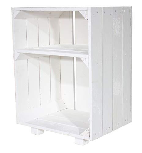 moooble 1er Neuer weißer Nachttisch 30,5cm x 40cm x 54cm Nachtschrank Abstelltisch Regalkiste Apfelkiste/Weinkiste Obstkisten Weiss Tisch Schrank Ablage Landhaus klassisch