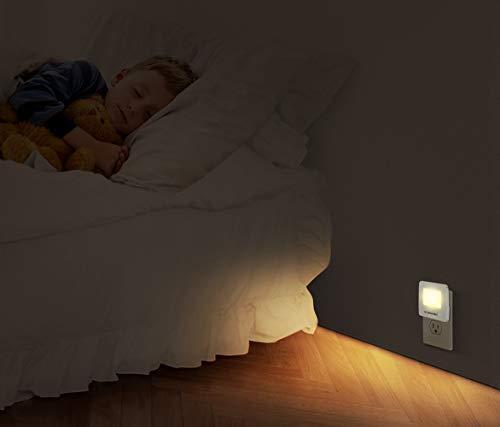 Emotionlite Plug-in Night Lights, Warm White LED Nightlight, Dusk to Dawn Sensor, Kids, Adult, Bedroom, Hallway, Bathroom,Kitchen, Stairways, Corridor, UL Listed, 4 Pack