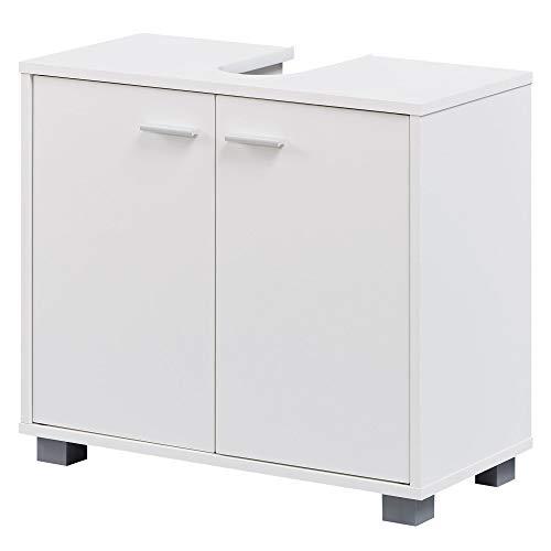 FineBuy Design Waschbeckenunterschrank FB37117 Badunterschrank mit 2 Türen Weiß | Kleiner Schrank Badezimmer 60 cm Breit | Badschrank Waschbecken Stehend | Bad Aufbewahrung | Waschtischunterschrank