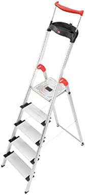 Hailo 8030-527 XXR Comfortline 5 FT. Folding Lightweight Aluminum Platform Step Ladder, Worktray, Silver