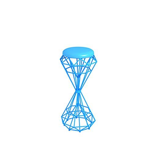 Silla Elevación Alta Colorida Retro Round Iron Wire Silla Doble Taladro Bar Taburete Loft Industrial Wind Bistro Muebles Pub,Azul