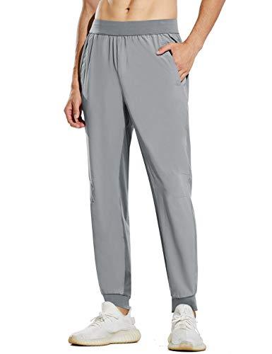 BALEAF Men's Athletic Joggers Dry Fit Running Lightweight Pants Training Workout UPF 50+ Zipper Pockets Light Grey S