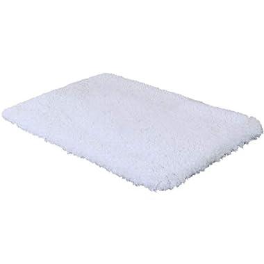 Norcho 31  x 19  Soft Shaggy Bath Mat Non-slip Rubber Bath Rug Luxury Microfiber Bathroom Floor Mats Water Absorbent White