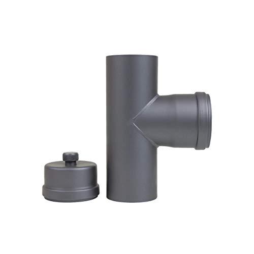 LANZZAS Pelletrohr Ø 80 mm T-Stück mit Reinigungskapsel und Kondensatablauf in Grau Pelletrauchrohr Pelletofenrohr Pelletkaminrohr Pellet Rohr