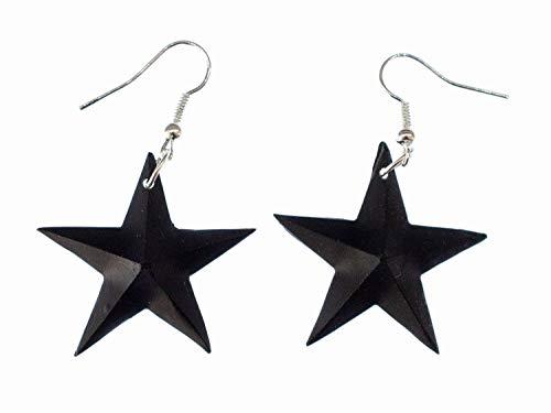 pendientes Miniblings estrella gotico de Emo percha hecha a mano estrellado negro - plata I joyería de los pendientes pendientes de la manera hecha a mano
