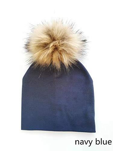 kids cotton hatsbaby pom pomphoto props newborn children's kids hatboy accessories toddler girl cap bonnetbaby hats-2 navy bule-1-0-3 months