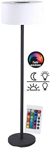 Lunartec Solar Stehleuchte aussen: Solar-LED-Stehleuchte, Lichtsensor, 16 Farben, 50 lm, 2,4 W, IP44 (Solar Stehlampe Outdoor)