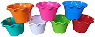 Blossom Flowers Pot (Multicolored, Pack of 7) Plant Container (Plastic, Size 8 Inch)