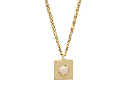 Kurze Halskette Louise Kragh mit Quadrat und Porzellanperle - Sterlingsilber (Gold Cashmere)