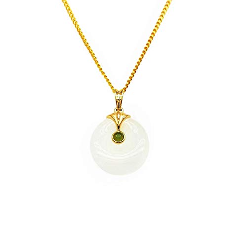 CHOW TAI FOOK 18K Yellow Gold and Hetian Jade Medallion Pendant
