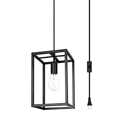 Plug in Pendant Light, Outdoor Chandelier with Cord, Industrial Retro Loft Design, Black Rectangle Cage Hanging Ceiling Lamp, Retro Lighting Fixture for Kitchen Island Dining Room