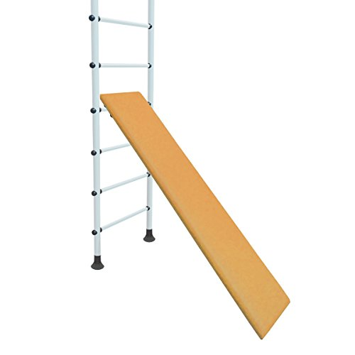 NiroSport Schrägbrett für Sprossenwand, Schrägbank, Holz, gepolstert, Kunstlederbezug, 160 x 35 cm, belastbar bis 130 kg, Gelb