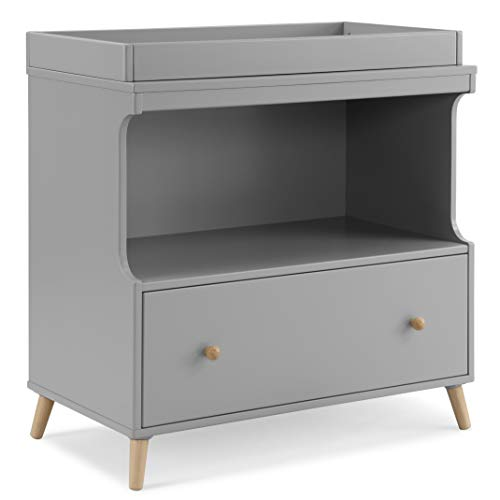 Delta Children Essex Convertible Changing Table with Drawer, Grey/Natural