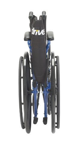 Drive Medical Blue Streak Wheelchair with Flip Back Desk Arms, Elevating Leg Rests, 20 Inch Seat