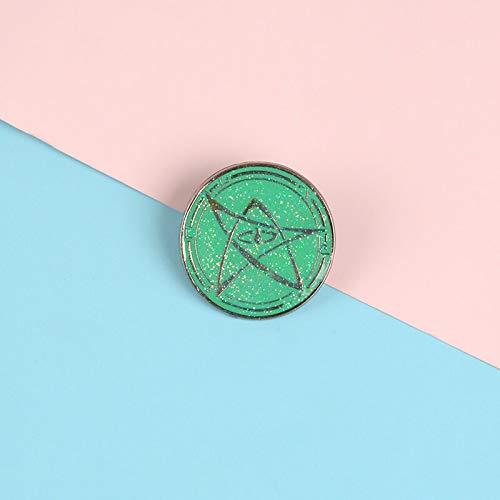 QISKAII Alfileres de Esmalte de Solapa de Polvo de Color Verde Redondo Que Fluye Pentagrama broches de Moda Insignias Bolsa de Ropa alfileres joyería Regalo para Amigos
