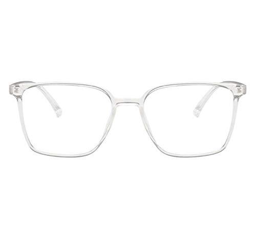 Without Marcos de Gafas Gafas de luz Anti Azul Marco Cuadrado Lentes de Mujer Marco Azul Bloqueo Gafas Gafas Vintage Hombres Espectáculos (Frame Color : Transparent)