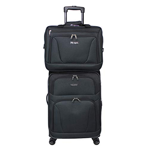 World Traveler Embarque Lightweight 2-piece Carry-on Spinner Luggage Set-Black, One Size