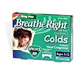 Breathe Right Nasal Strips, for Colds, with Vicks Mentholated Vapors, Children Ages 5-12, 10 Count
