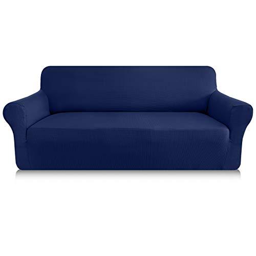 Granbest Sofabezug, dick, 1 Stück, dehnbar, 3-Sitzer, rutschfest, für Sofa, Möbelschutz, Stoff Spandex Jacquard (3-Sitzer, dunkelblau)