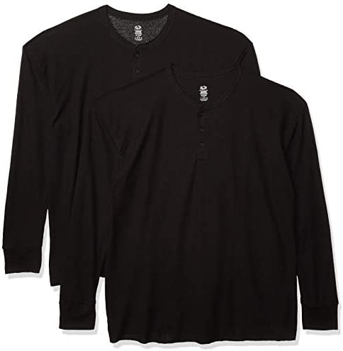 Fruit of the Loom Men s Classic Midweight Waffle Thermal Henley Top Black Black 2 Pack Large product image