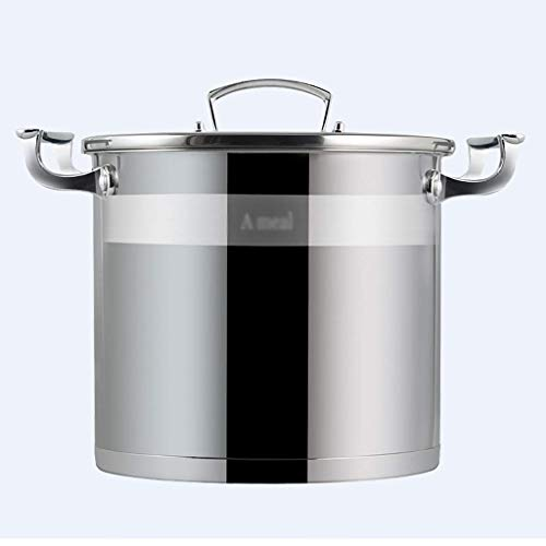 KAUTO Olla común, Olla de Sopa de Gran Capacidad Espesada doméstica de Acero Inoxidable 304, para Cocina de inducción de Estufa de Gas (5-16L), para Olla común de 1-8 Personas (tamaño: 16L)