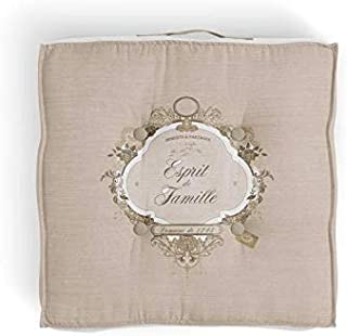 Cojín tapizado de algodón 40 x 40 x 8 cm Esprit DE FAMILLE Natural de Soleil d'Ocre