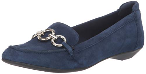 Anne Klein Women's Ola Loafer Flat, Navy Suede, 7.5 M US