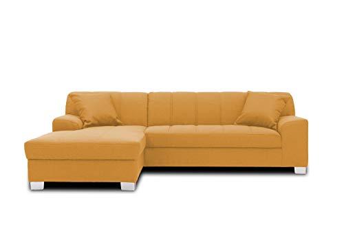 DOMO collection Capri Ecksofa | Eckcouch in L-Form, Polsterecke Sofa Garnitur, mango gelb, 239x152x75 cm