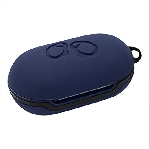 Hülle Ersatz für Samsung Galaxy Buds Charging Box Case Silicone Bluetooth Kopfhörer Case zubehör Schutz in-Ear-kopfhörer-Abdeckung Protective Cover [Unterstützt kabelloses Laden] (Dunkelblau)