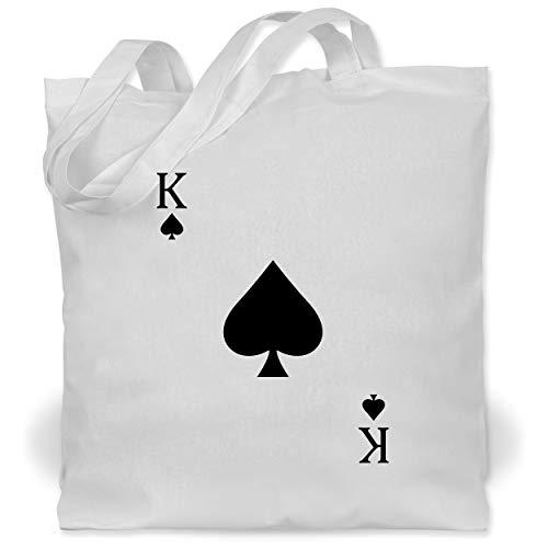 Shirtracer Karneval & Fasching - Pik King Kartenspiel Karneval Kostüm - Unisize - Weiß - Kartenspiel - WM101 - Stoffbeutel aus Baumwolle Jutebeutel lange Henkel