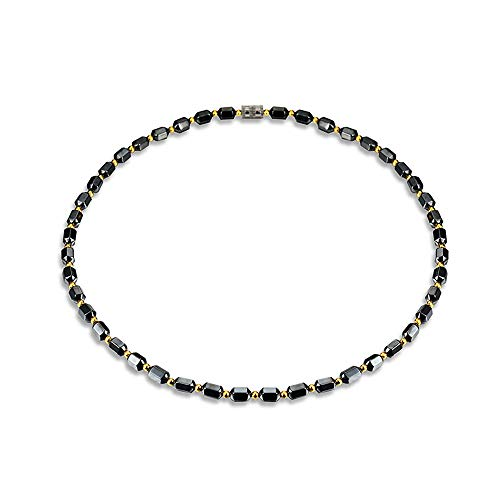 Caiyao Hematite Magnetic Necklace Pain Relief Therapy Arthritis Migraine Headaches Shoulders Back Beads Necklace-Black