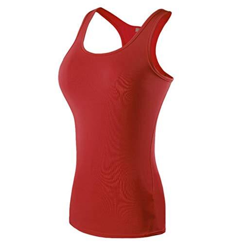 PFSYR Damen Sportweste Running Fitness schnell trocknendes Oberteil Enge Indoor-Yoga-Tanzweste Verbreiterter Schultergurt Fitnessweste Multi-Color optional (Farbe : Rot, größe : S)