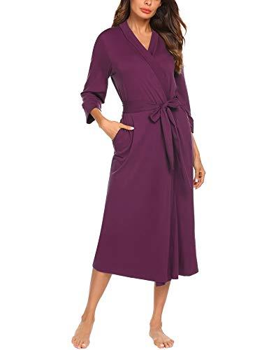 Unibelle Damen Morgenmantel Bademantel Damen Baumwolle Sommer Kimono Leicht Robe Jersey kurz Hausanzug Sleepwear Saunamantel Weinrot M