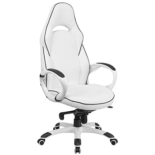 Flash Furniture High Back White Vinyl Executive Swivel Office Chair with Black Trim and Arms, BIFMA Certified