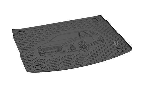 Passgenau Kofferraumwanne geeignet für Hyundai i30 Hatchback ab 2017 ideal angepasst schwarz Kofferraummatte + Gurtschoner